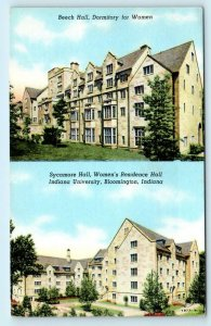 BLOOMINGTON, IN  Beech & Sycamore Halls INDIANA UNIVERSITY c1940s Linen Postcard