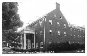 Waynesboro Virginia Hotel General Wayne Real Photo Antique Postcard K82580