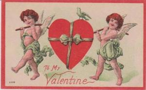 To My Valentine, Two Cherubs Carrying Large Heart Wrapped in Ribbon 1900-10s