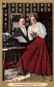 Business Demanding Close Attention~Boss at Typewriter~Secretary~Gold Leaf~1910