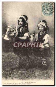 Fantasy - Children - Girls Folklore - Costumes - Girls Auvergne Old Postcard