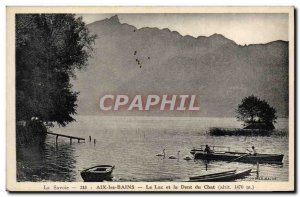 Old Postcard Aix Les Bains Lake and Dent Du Chat