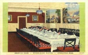 American Room, Highland Hotel Springfield MA Unused