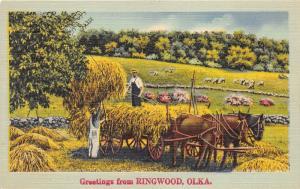 Ringwood Oklahoma~Farmers Loading Hay on Horse-Drawn Wagon~1940s Linen Postcard