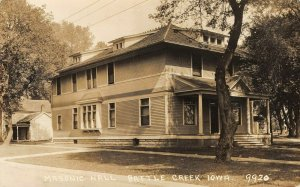 LP65 Masonic Hall Battle Creek  Iowa Vintage Postcard RPPC
