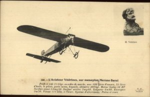 PIoneer Aviation Monoplane Airplane Morane-Borel Pilot Vedrines Postcard