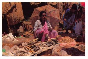 Postcard GOA Mapusa Market Dry Salted Fish Seller INDIA