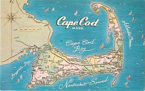 Cape Cod Massachusetts MA Map Chrome Postcard