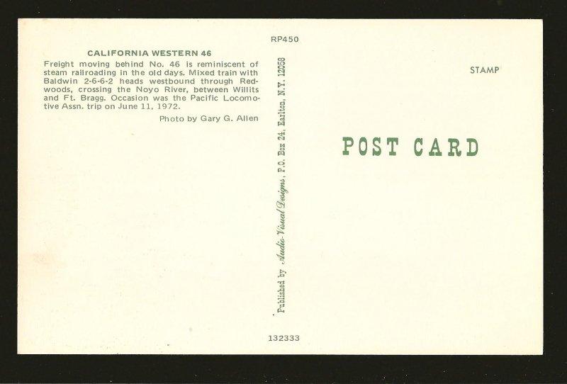 California Western 46 Locomotive 1972 Gary G Allan Color Postcard Unposted