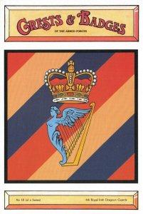 Postcard Armed Forces 4th Royal Irish Dragoon Guards Crest Badge No.18 NEW BL18