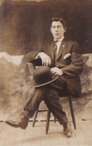 Man Posing In Chair John Stewart Oneonta New York Real Photo