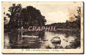 Old Postcard The Banks of Foix I Ariege The Beach Canoe Kayak