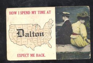 DALTON MINNESOTA US MAP LOVERS VINTAGE POSTCARD FERGUS FALLS GARFIELD MINN.