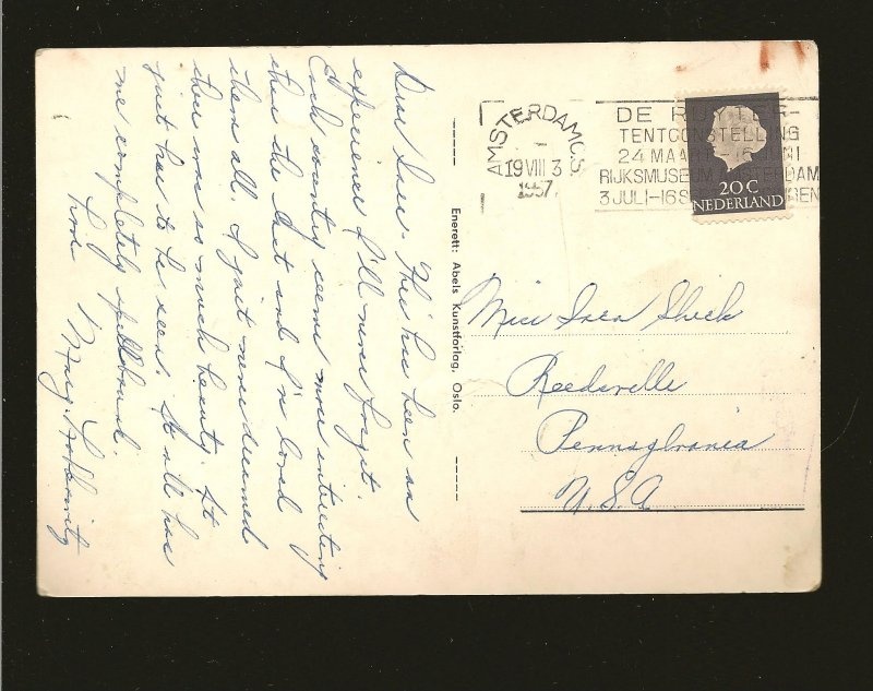 Postmark 1957 Amsterdam Netherlands Oslo Badhuset ABEL Real Photo Postcard