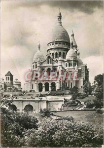 Modern Postcard Paris Strolling Basilica of Sacre Coeur in Montmartre