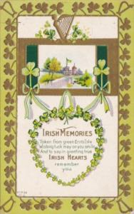 Saint Patrick's Day With Shamrock & Gold Harp