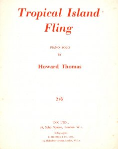 Tropical Island Fling Howard Thomas 1950s Rare Sheet Music