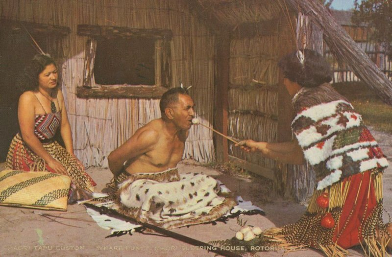Maori Custom Whare Puni Sleeping House Rotorua NZ Postcard