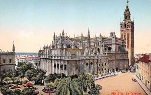 Spain Old Vintage Antique Post Card La Catedral Sevilla Unused