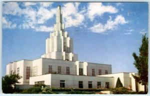 IDAHO FALLS, ID    Mormon L.D.S. TEMPLE completed 1944  Postmarked 1961 Postcard