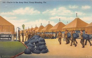 You're in the Army Now, Camp Blanding, Florida, Early Linen Postcard, Unused