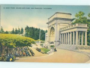 Unused Linen BANDSTAND AT GOLDEN GATE PARK San Francisco California CA G0921