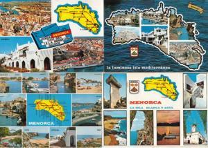 Menorca 4x Map 1980s Postcard s