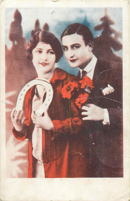 Prom couple students studentika Romania postcard lovers couple luck horseshoe
