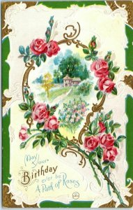 Vintage Greetings Postcard May Your BIRTHDAY Ever Be a Path of Roses UNUSED