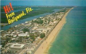 Postcard Hi From Hollywood Florida Aerial View  Hollywood Beach Coastline