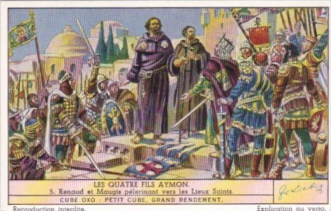 LIebig Trade Card S1452 Four Sons Of Aymon No 5 Renaud et Maugis pelerinant v...