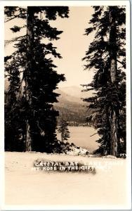 RPPC   CRYSTAL BAY, NV Nevada  View of LAKE TAHOE & MT ROSE  c1930s  Postcard