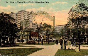 Wisconsin Milwaukee View In Union Depot Park 1913