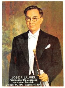Jose P Laurel President of the Japanese Sponsored Republic Non Postcard Backing