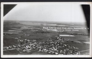 NY HAMMOND Black Lake from above Skyview by Dwight Church - RPPC - EKC 1939-1950
