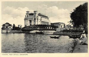 Singapore General Post Office River Bridge Boats Postcard