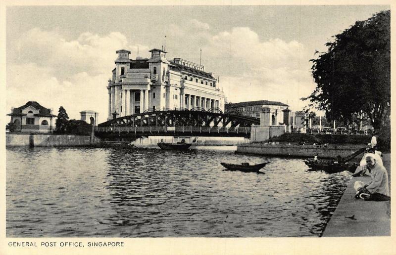 Singapore General Post Office River Bridge Boats Postcard