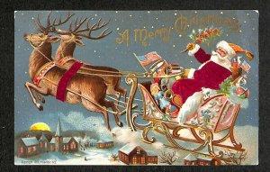 Christmas Santa Claus Red Cloth Suit Sleigh Reindeer Postcard