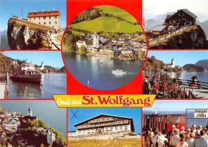 Gruss aus St. Wolfgang mit Romantikhotel Im Weissen Roessl Hotel Schafbergspitze
