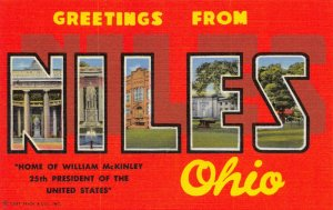 USA Linen 1953 Large Letter Postcard, Greetings from Niles Ohio CY9