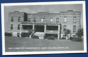 Decatur Texas tx Baptist Junior College Girls Dormitory real photo postcard RPPC