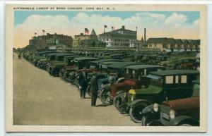 Automobile Car Line Up Band Concert Cape May New Jersey 1920c postcard