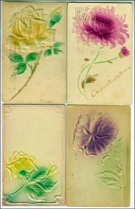 4 - Misc Greeting Cards - Heavy Embossed Flowers
