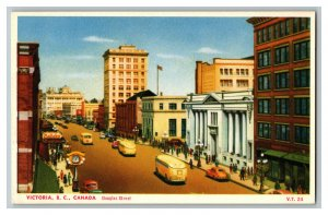 Victoria B. C. Canada Douglas Street Vintage Standard View Postcard