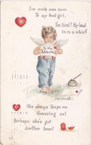 Valentine's Day Cupid Mailing Letter 1914 Signed Woodworth