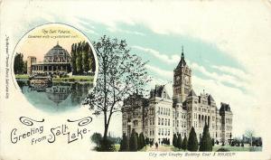c1905 Postcard Greeting from Salt Lake City UT City/Country Bldg & Salt Palace