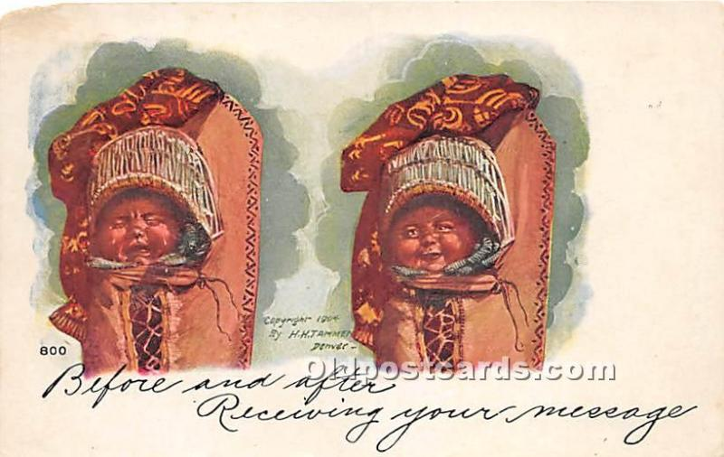 Indian Papoose Indian 1907 Missing Stamp paper chip left top corner