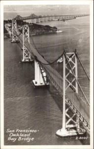 San Francisco-Oakland Bay Bridge CA Real Photo Postcard