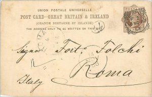 Entier Postal Stationery Postal Britain Great Britain in 1883 Liverpool to Rome