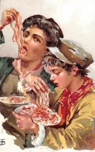 Two Young Men Eating Spaghetti - E. Ragozino 1905